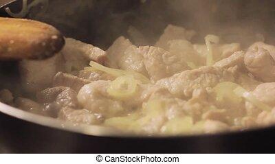 hotpot, viande, légumes, maison, frire, cuisine