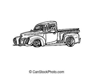 hotrod, clipart, 클래식 카, 벡터, retro, 포도 수확, 만화, illustration.