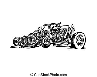 hotrod, clipart, carro clássico, vetorial, retro, vindima, caricatura, illustration.