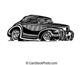 hotrod, clipart, coche clásico, vector, retro, vendimia, caricatura, illustration.