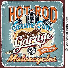 hotrod, motocicletas, garagem, fenda