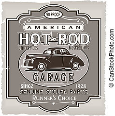 vintage car vector for T-shirt printed and poster