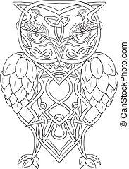 houblon, knotwork, celtique, orge, hibou