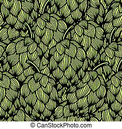 houblon, modèle, vert, seamless