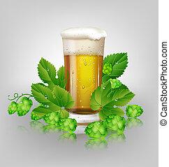 houblon, verre, bière