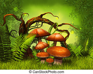 houby, fantazie, les