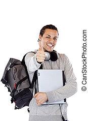 houden, duim, draagbare computer, donkere-gevilde, op, student, backbag