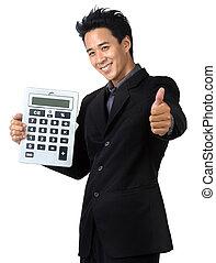 houden, glimlachen, zakelijk, rekenmachine, vrijstaand, man
