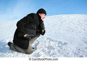 houden, gravitate, aktentas, sneeuw, een, jeugd, vooruit leunend, knie, hand
