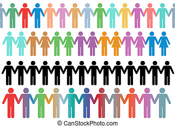 houden hands, mensen, symbool, rijen, grens, anders