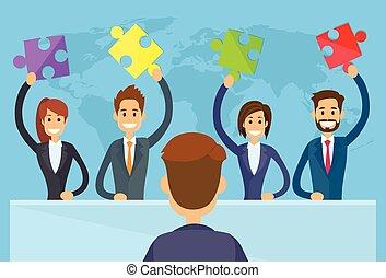 houden, mensen zaak, puzzelstuk, team, oplossing, concept