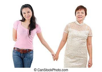 houden, moeder, handen, dochter
