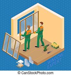 houden, venster., repairers, isometric, template., ...