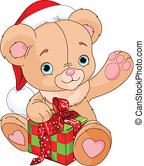 houdend teddy draag, kerstkado