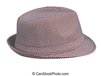 houndstooth, mönster, bemanna, hatt