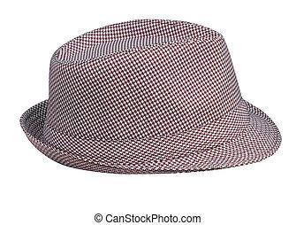 houndstooth, mönster, hatt, bemanna