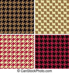 houndstooth, motifs, pixel, classique