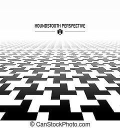 Houndstooth pattern perspective illustration