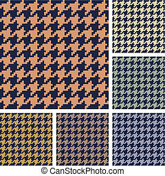 houndstooth, sätta, mönster, vektor