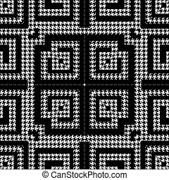 Houndstooth textured black and white seamless pattern. Vector ornamental background. Classic hounds tooth ornaments. Geometric design with greek key, meanders, shapes, zigzag. Repeat grunge texture
