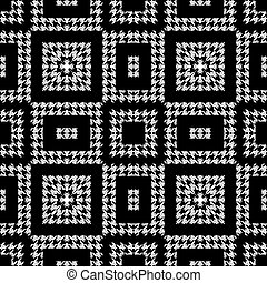 Houndstooth textured black and white seamless pattern. Vector ornamental background. Modern hounds tooth ornaments. Geometric design with squares, rectangles, zigzag, shapes. Repeat grunge texture