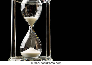 The sands of time pass through the hour glass