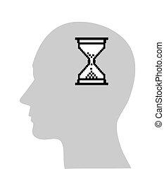 hour-glassin, kopf, edv