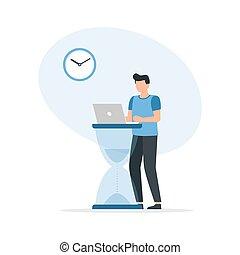 hourglass., 大, 時間, 膝上型, 商人, concept., 管理, 工作