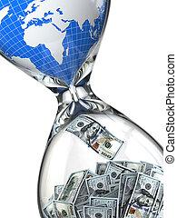 hourglass, 錢, 以及, earth., 消費, ......的, 自然, resources.