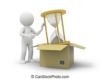 Hourglass - A 3d person taking an hourglass from a box
