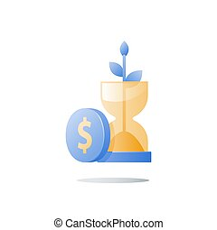 Hourglass and plant stem, wealth growth, time is money, financial security, future confidence, pension fund, income growth