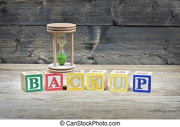 Hourglass and word backup