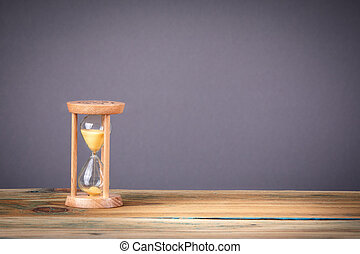 Hourglass as time passing, business deadline and free copy space