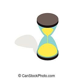 Hourglass clock icon, isometric 3d style