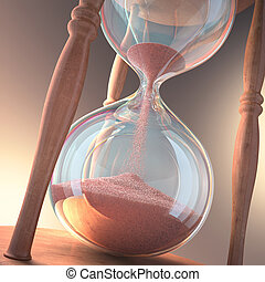 Hourglass counting the time. Concept of time is money.