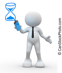 Hourglass  - 3d people - man, person with a hourglass
