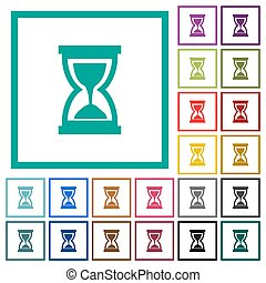 Hourglass flat color icons with quadrant frames on white...