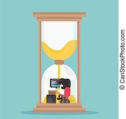 hourglass., funcionamento duro, homem negócio