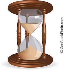 Hour glass with sand - realistic illustration of hourglass