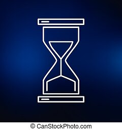 Hourglass icon on blue background