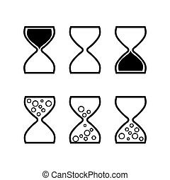 Hourglass icon set vector illustration in different positions and styles. Time, clock vector illustration