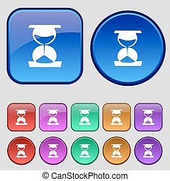 hourglass icon sign. A set of twelve vintage buttons for your design. Vector