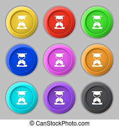 hourglass icon sign. symbol on nine round colourful buttons. Vector