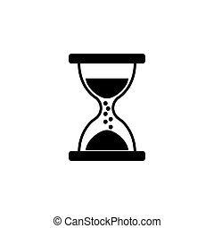Hourglass icon vector black on white background