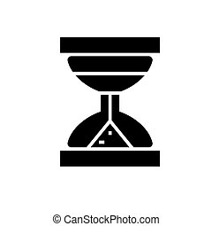 hourglass icon, vector illustration, black sign on isolated background