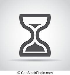 Hourglass icon with shadow on a gray background. Vector illustration