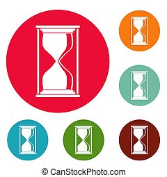 Hourglass icons circle set