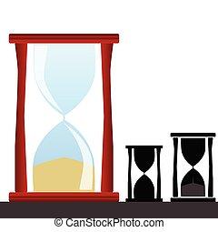 hourglass, illustratie, vector, met, black , silhouette