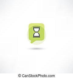hourglass in green bubble speech
