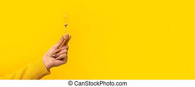 hourglass in hand panoramic mockup
